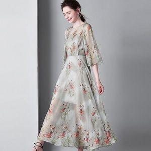 Light green long wide bottom transparent dress